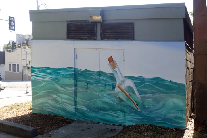 Joshua Talbott street art mural in Bernal Heights of San Francisco, Ca