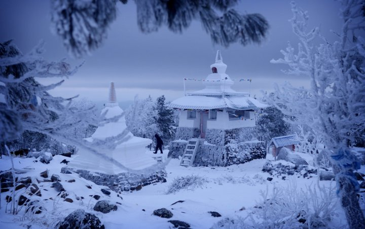 The monastery atop Mount Kachkanar, in central Russia.The monastery is scheduled for demolition on March 1, 2017 to make way for a new iron mine. Click  here for the story of the embattled Buddhists of the Ural mountains.