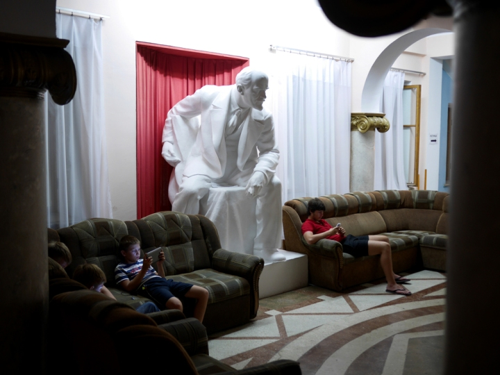 Lenin looming over holidaying Russians glued to their tablets & iPhones in a soviet-era sanatorium in Gagra. With a newly revanchistRussia as its only ally,the future for the embattled territory of Abkhazialooks increasingly uncertain. Click  here  for agallery from the rebel statelet onthe Black Sea.